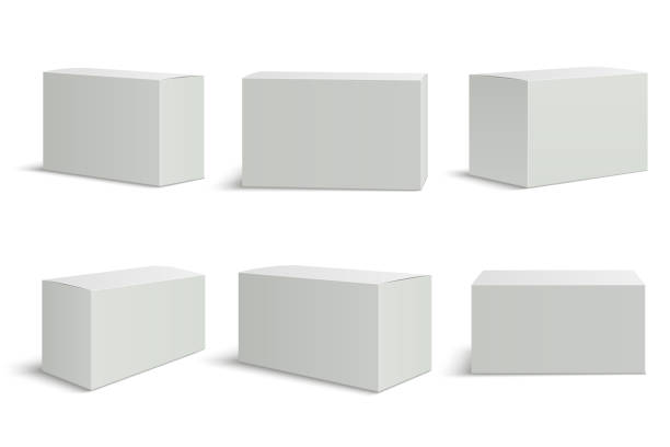 White boxes templates. Blank medical box 3d isolated paper packaging. Rectangle carton package vector mockup White boxes templates. Blank medical box 3d isolated paper packaging. Rectangle carton package vector mockup set white color stock illustrations