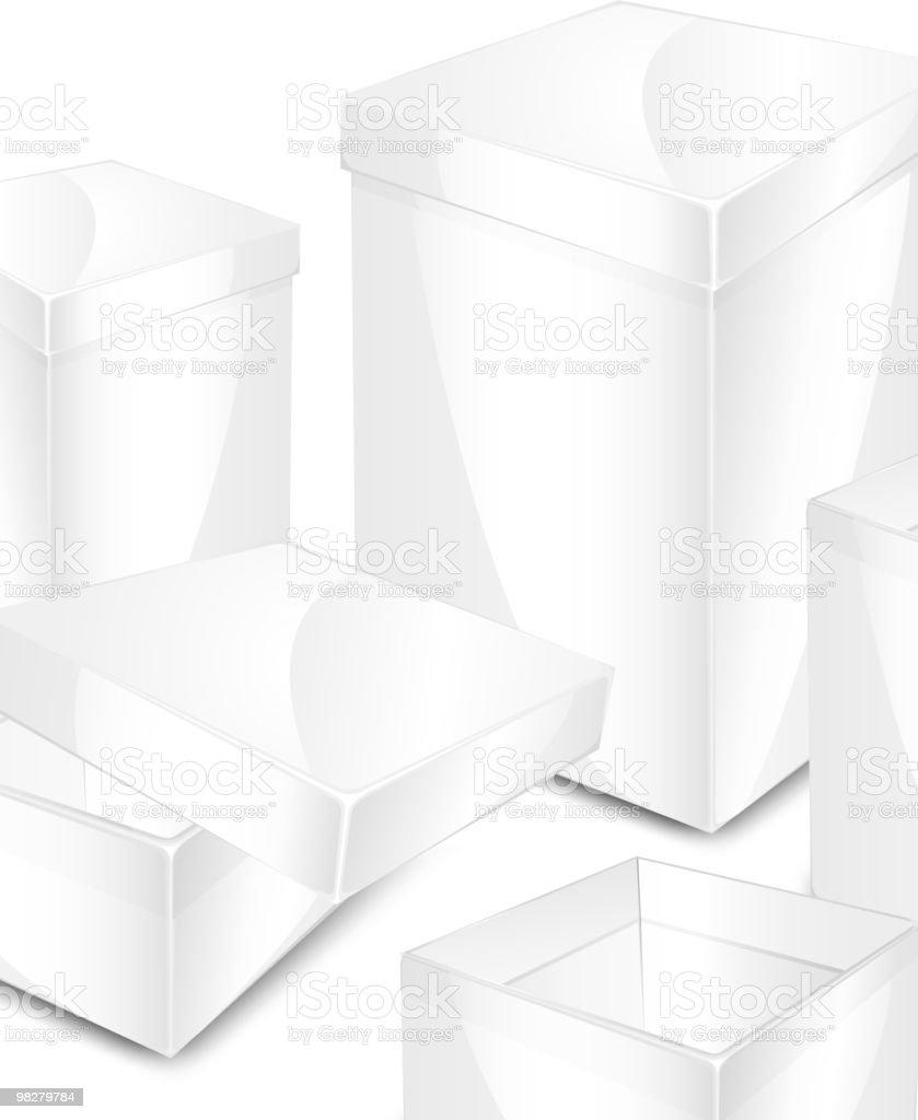 Bianco scatole bianco scatole - immagini vettoriali stock e altre immagini di aperto royalty-free