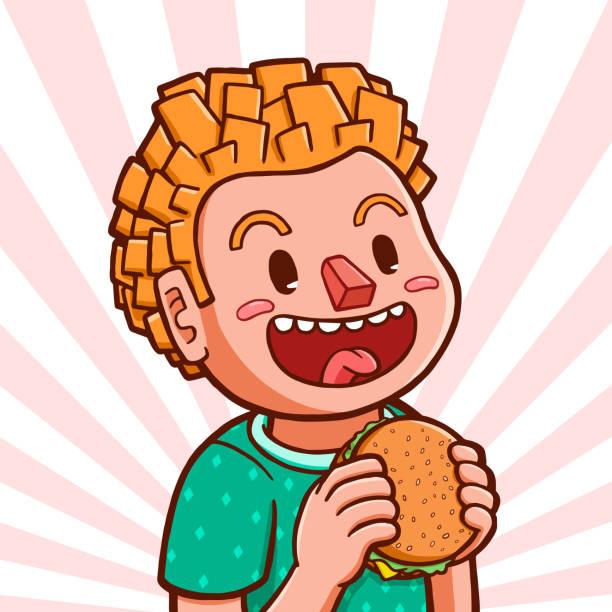 White boy eating hamburger Vector illustration of a white boy preparing to eat hamburger hungry child stock illustrations