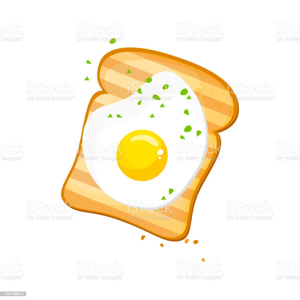 White bread, Egg toast. Fresh toasted bread with fried egg. Delicious egg sandwich. vector illustration isolated on a white background. vector art illustration