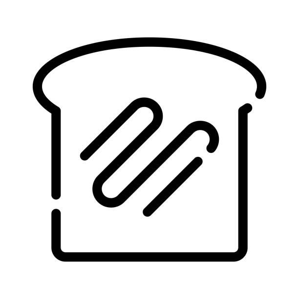 ホワイトブレッド、アウトラインブラックスタイル - 食パン点のイラスト素材/クリップアート素材/マンガ素材/アイコン素材