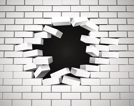 White Breaking Wall