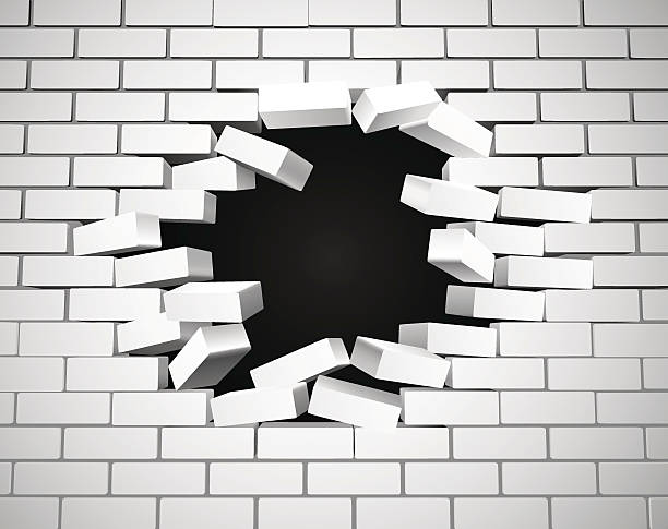 White Breaking Wall vector art illustration