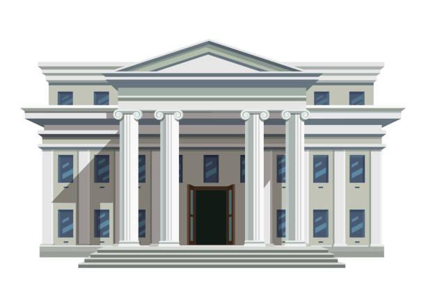 ilustrações, clipart, desenhos animados e ícones de edifício público de tijolo branco com colunas altas - banco edifício financeiro