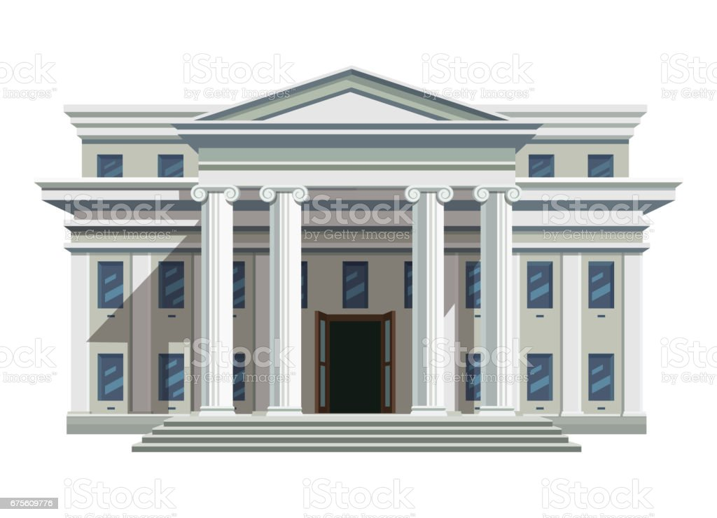 White brick public building with high columns vector art illustration