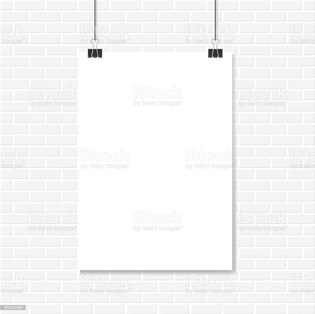 White Brick Wall And Vertical Realistic Poster Mockup Royalty Free