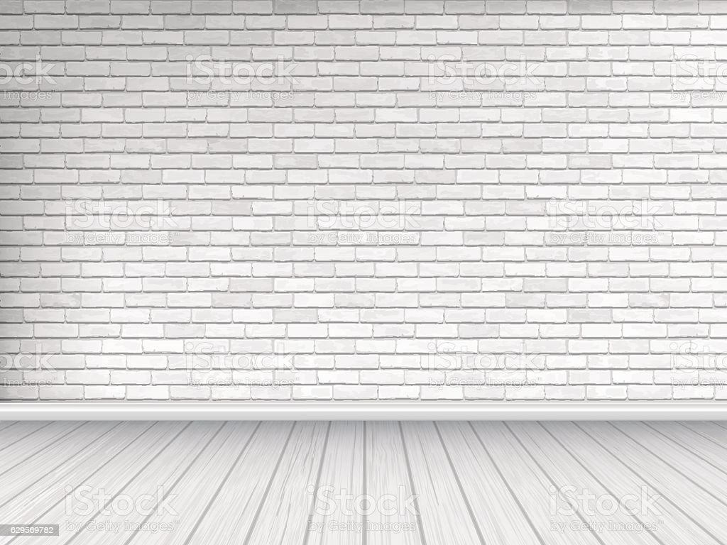 white brick wall and wooden floor background vector art illustration