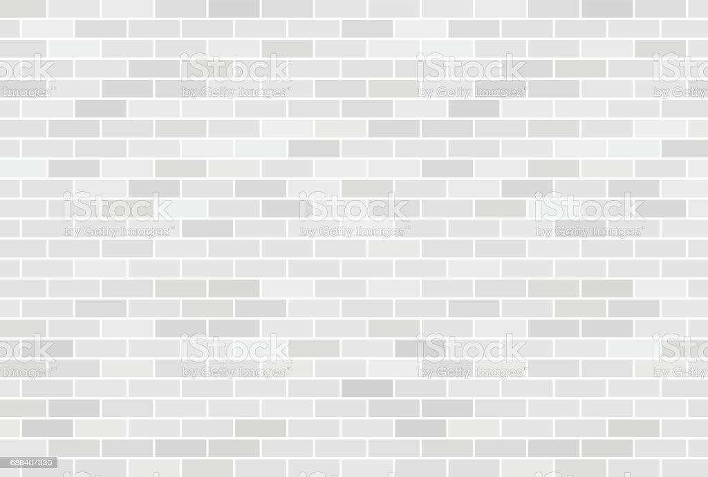 White brick wall background vector art illustration