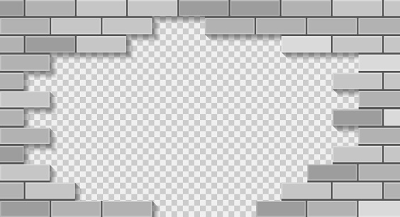 White brick wall breaking through with hole. 3D vector illustration