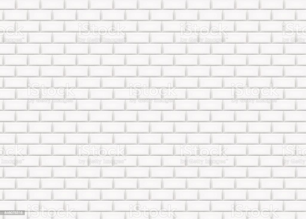 Mur de briques blanches en jacquard carreaux métro. Illustration vectorielle. - Illustration vectorielle