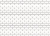 White brick wall in subway tile pattern. Vector illustration.