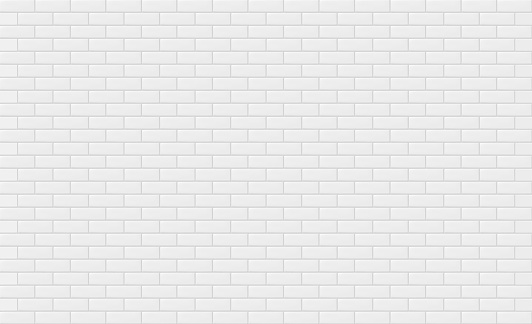 White brick wall texture for text or background. Vector illustration