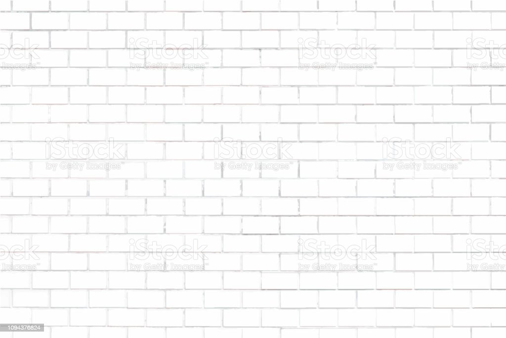 White brick wall textured background vector art illustration