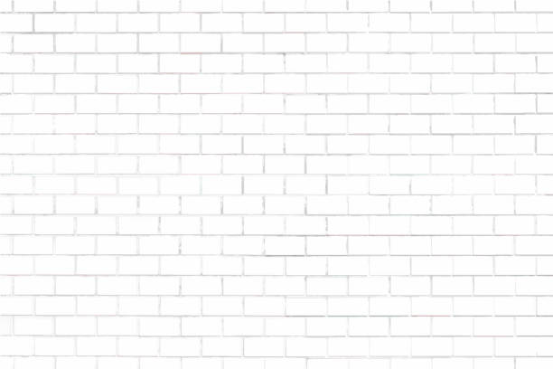 White brick wall textured background vector art illustration