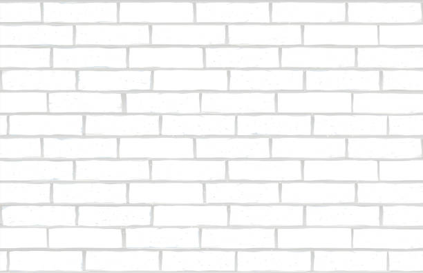 white brick wall vector art illustration