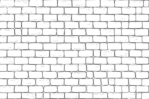 白色磚牆。無縫模式背景向量藝術插圖