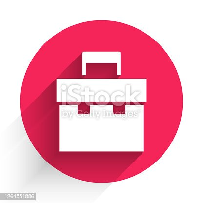 istock White Briefcase icon isolated with long shadow. Business case sign. Business portfolio. Red circle button. Vector Illustration 1264551886
