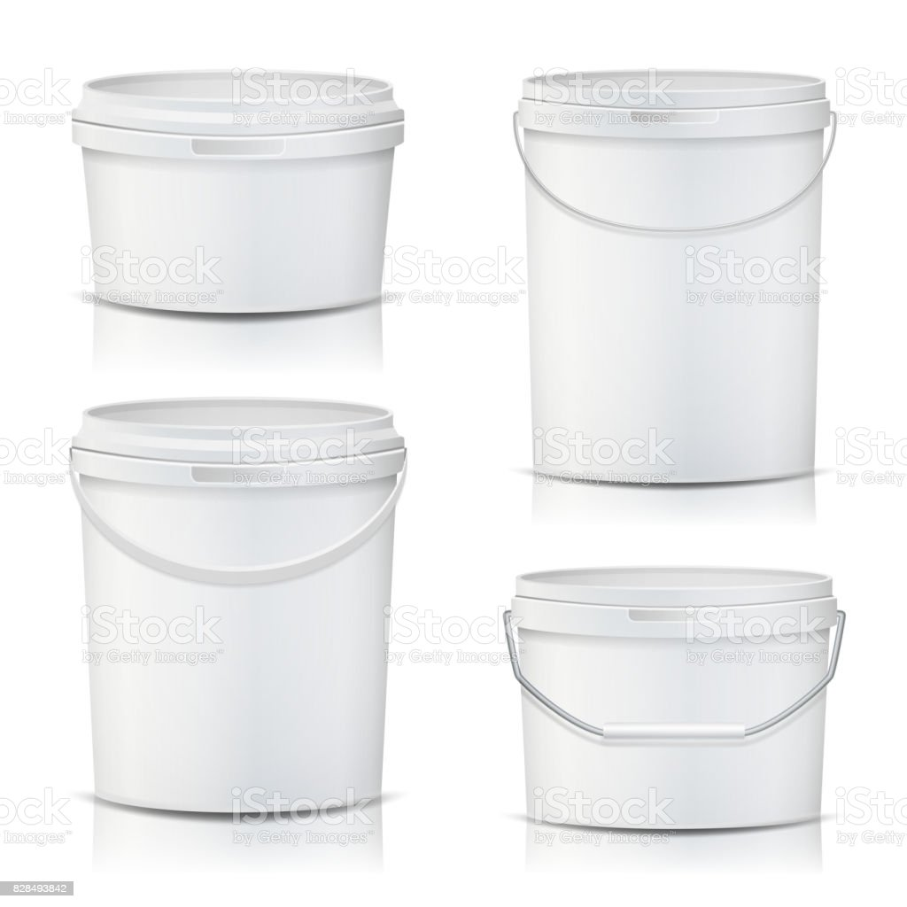 White Bucket Set Container Mock Up Vector. Product Packaging For Adhesives, Sealants, Primers, Putty. With Lid And Handle. Realistic Illustration vector art illustration