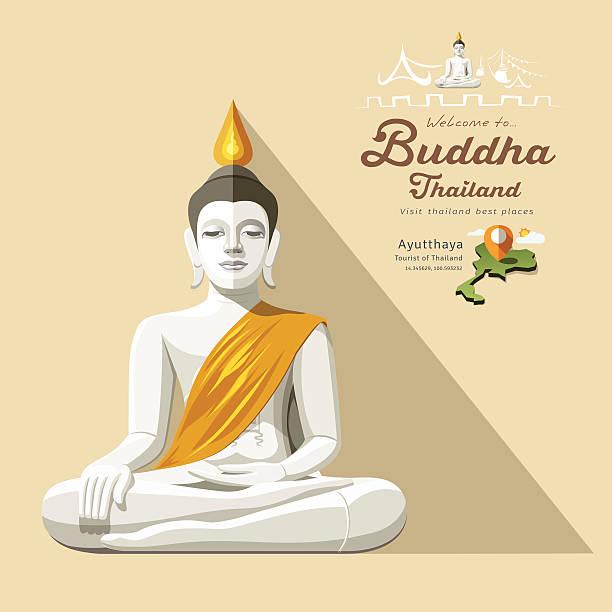 white-buddha und gelbe bademantel von thailand - ayutthaya stock-grafiken, -clipart, -cartoons und -symbole
