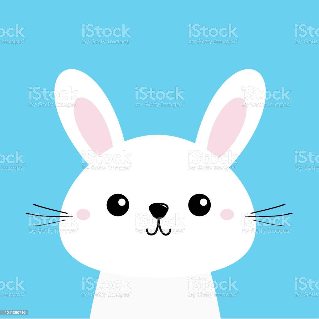 Lapin Blanc Personnage De Dessin Anime Kawaii Mignon Visage De Bebe