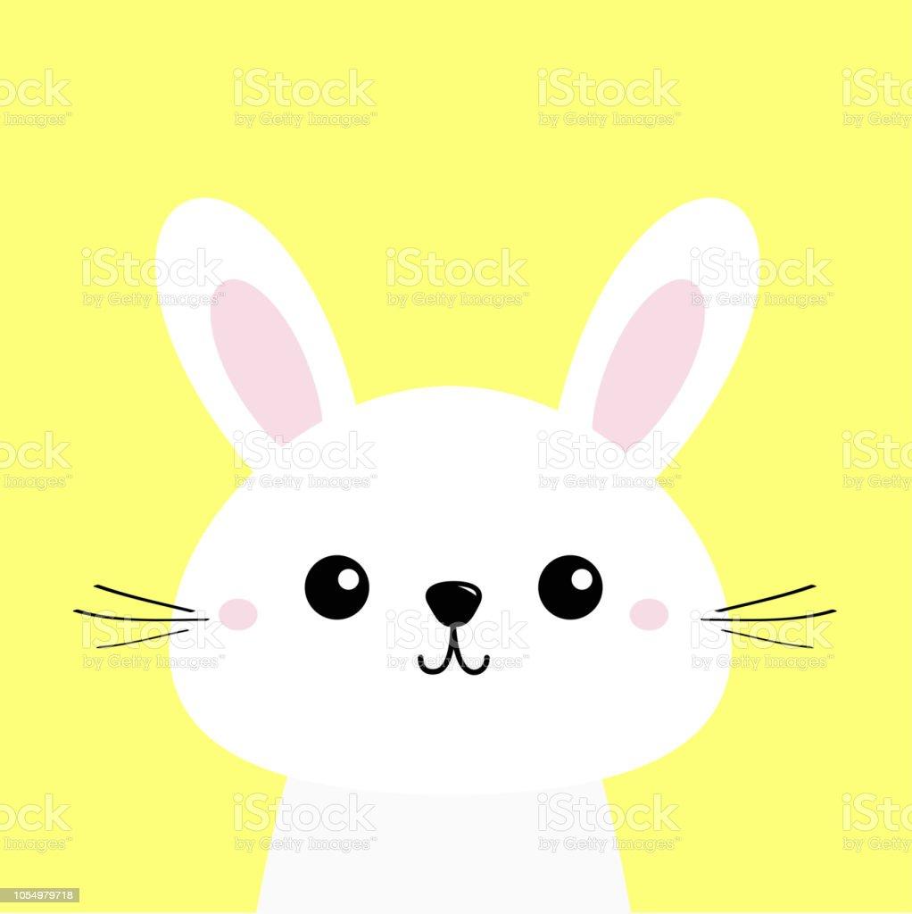 White Bunny Rabbit Cute Kawaii Cartoon Character Funny Head Baby