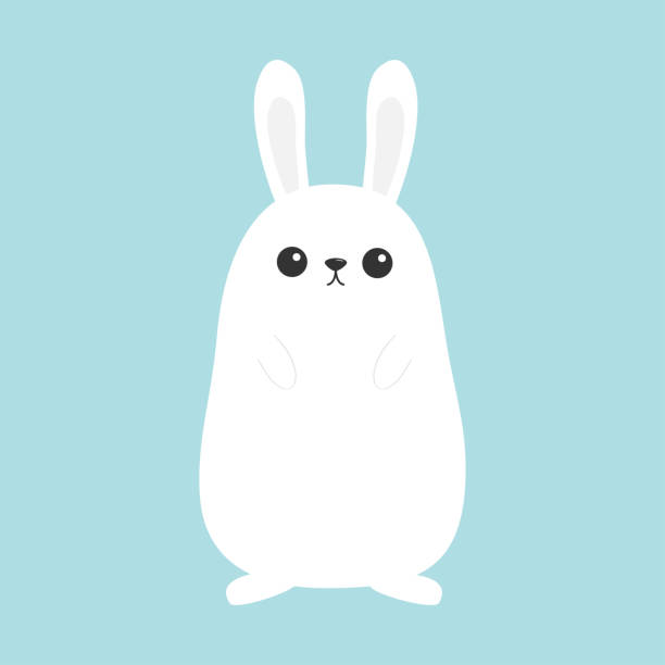 white bunny rabbit. funny head face. big ears. cute kawaii cartoon character. baby greeting card template. happy easter sign symbol. blue background. flat design. - rabbit stock illustrations