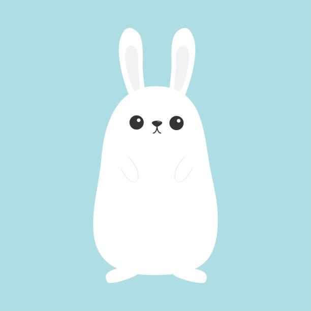 weißer hase. lustiges gesicht kopf. ohrenanlegen. cute kawaii-cartoon-figur. baby grußkartenvorlage. happy easter-symbol-zeichen. blauer hintergrund. flaches design. - kaninchen stock-grafiken, -clipart, -cartoons und -symbole