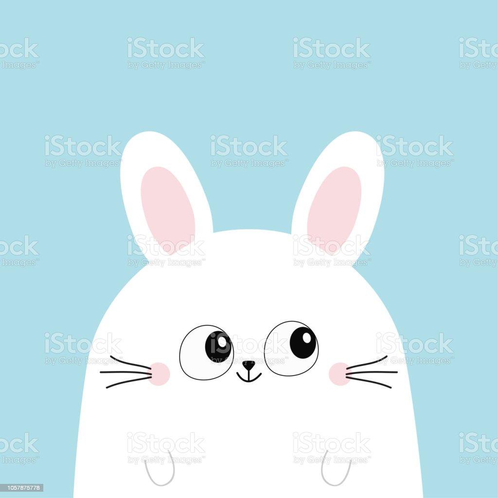 White Bunny Rabbit Head Face Funny Head Face Big Eyes Cute Kawaii