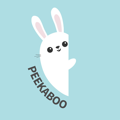 White bunny rabbit holding wall signboard. Cute cartoon funny animal hiding behind paper. Happy Easter symbol. Peekaboo text. Flat design. Pastel blue color background.