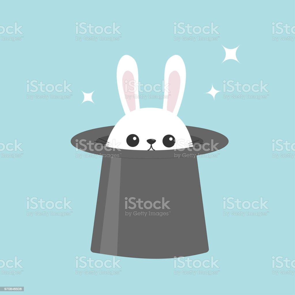 White bunny rabbit in magic hat. Sining stars. Funny head face icon. Big ears. Cute kawaii cartoon character. Baby greeting card. Easter symbol. Flat design. Blue background.