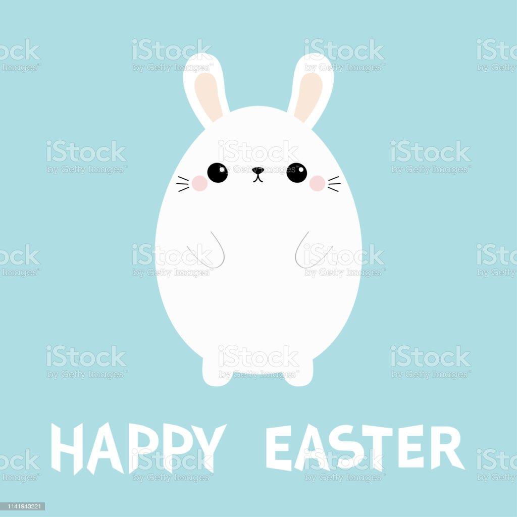 Beyaz Tavsan Yumurta Sekli Boyama Mutlu Paskalya Komik Kafa Yuzu
