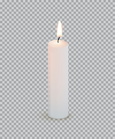 White burning candle isolated on transparent background. Vector design element.