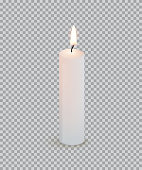 White burning candle isolated on transparent background. Vector design element