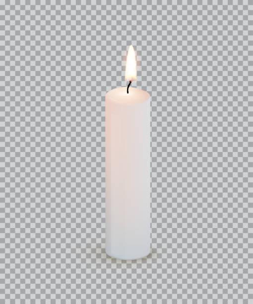 White burning candle isolated on transparent background. Vector design element. White burning candle isolated on transparent background. Vector design element candle stock illustrations