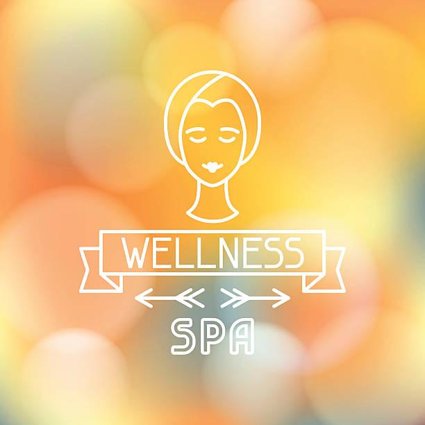 ilustraciones, imágenes clip art, dibujos animados e iconos de stock de spa wellness etiqueta en fondo borroso - tratamiento de spa