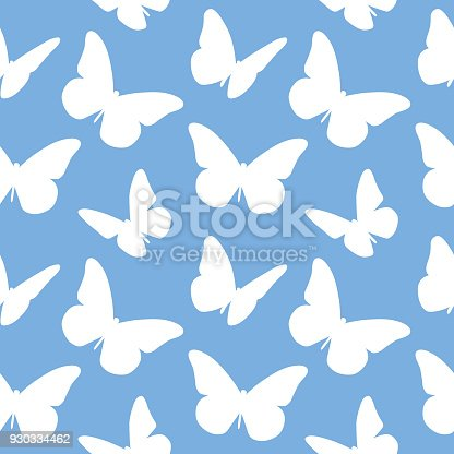 Vector illustration of white butterflies on a blue background.