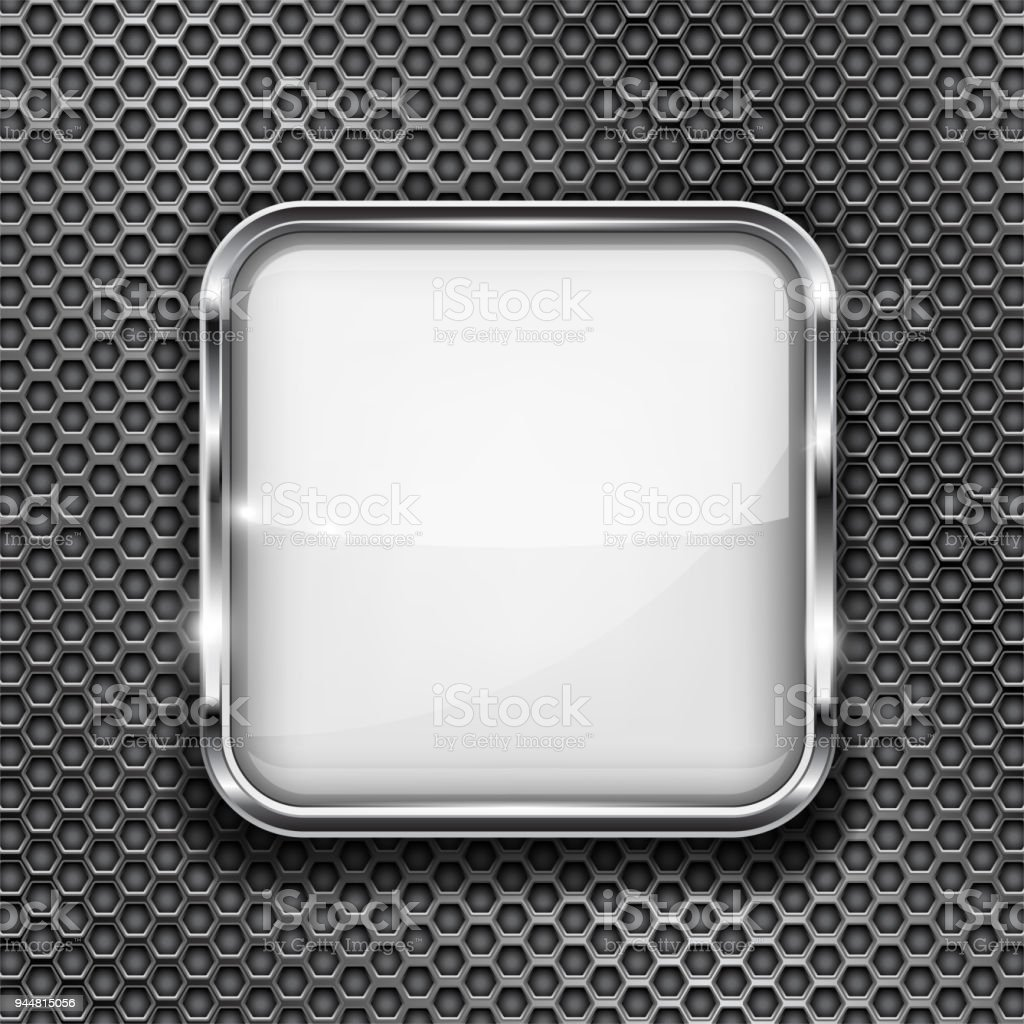 White Button Frame On Perforated Background Square Glass 3d Icon ...