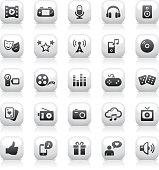 White Button Icons Set | Entertainment