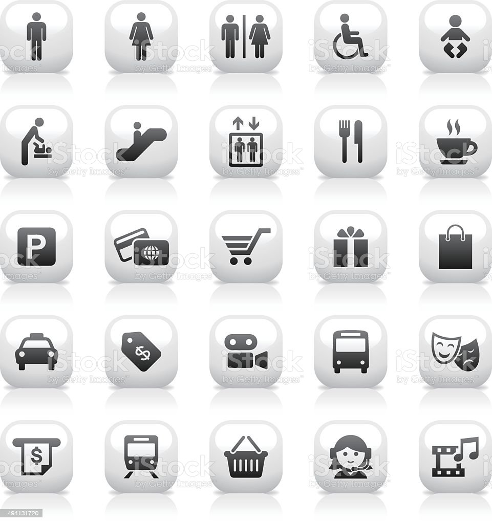 White Button Icons Set | Public & Shopping Mall vector art illustration