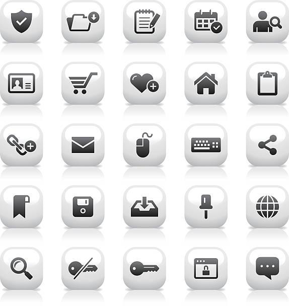 화이트 버튼 아이콘 세트/웹 & 인터넷 - work from home stock illustrations