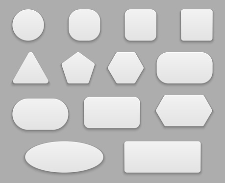 White buttons. Blank tags, white clear badge. Round square circle application button plastic 3d vector isolated shapes