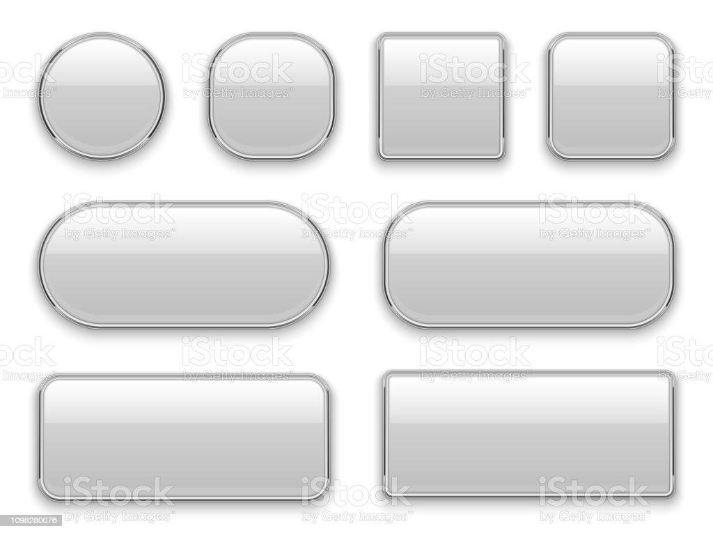 화이트 버튼 크롬 프레임을 합니다. 3d 현실 웹 유리 요소 타원형 사각형 사각형 원형 크롬 화이트 버튼 인터페이스 - 로열티 프리 3차원 형태 벡터 아트