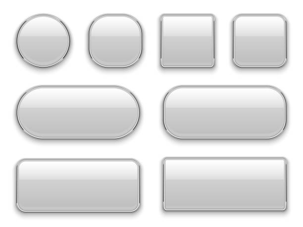 white buttons chrome frame. 3d realistic web glass elements oval rectangle square circle chrome white button interface - przycisk stock illustrations