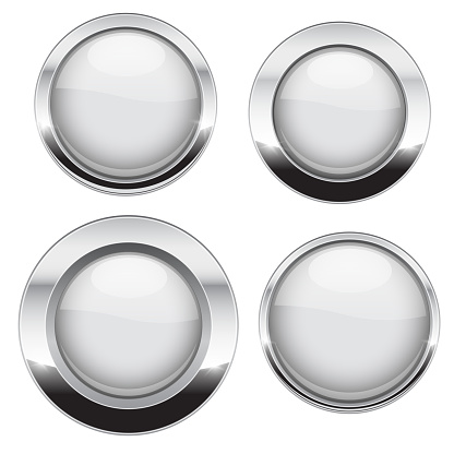 White buttons with chrome frame. Round glass shiny 3d icons