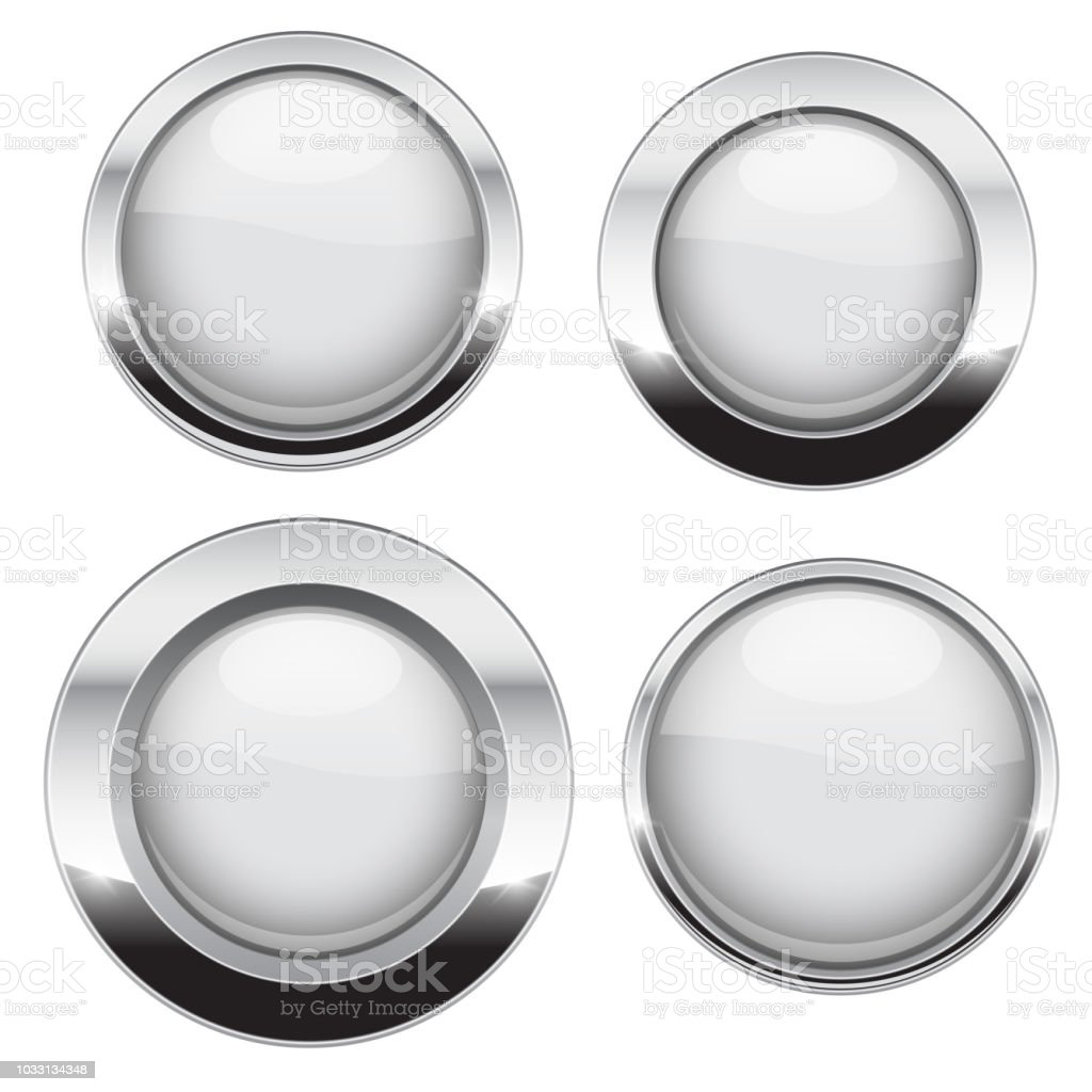 White buttons with chrome frame. Round glass shiny 3d icons vector art illustration