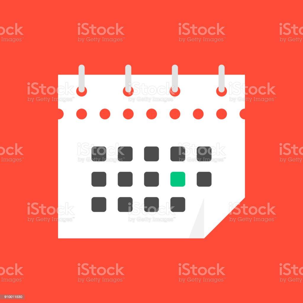 weiße Kalendersymbol im flachen Stil – Vektorgrafik