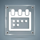 White Calendar icon isolated on grey background. Event reminder symbol. Square glass panels. Vector Illustration