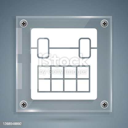 istock White Calendar icon isolated on grey background. Event reminder symbol. Square glass panels. Vector Illustration 1268548892