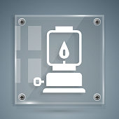 istock White Camping lantern icon isolated on grey background. Happy Halloween party. Square glass panels. Vector 1289389870