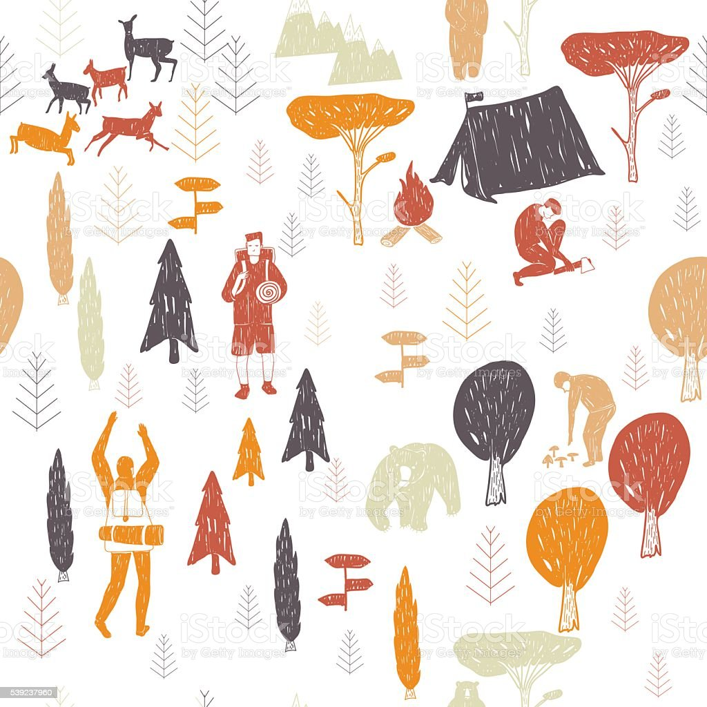 white camping pattern royalty-free white camping pattern stock vector art & more images of activity